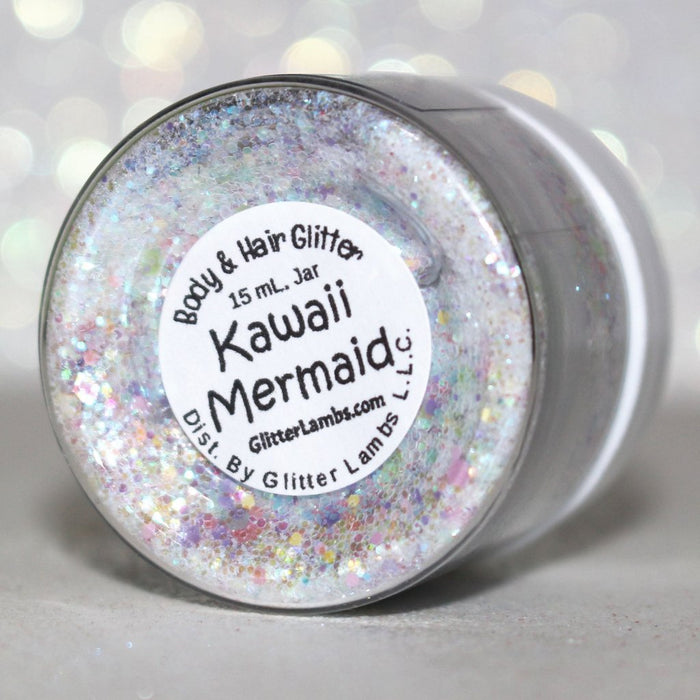 "Glitter Lambs ""Kawaii Mermaid"" Glitter Pot For Body, Face, Skin, Hair, Nails #nailglitter #bodyglitter #faceglitter #skinglitter #glitterlambs #nails #glitter #iridescentglitter #hairglitter #kawaii #kawiiglitter #mermaidglitter #mermaid"