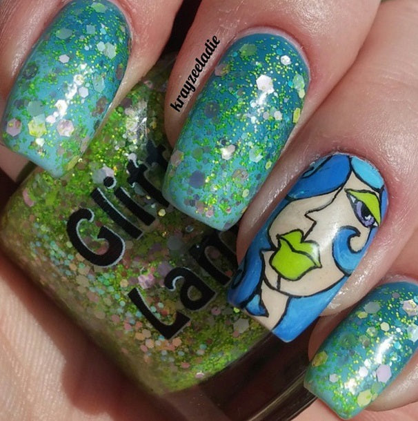 "Glitter Lambs ""Lime Green Eyeshadow"" glitter topper nail polish  #nails #glitternails #nailpolish #glitterlambs #glitterpolish #glitternailpolish"