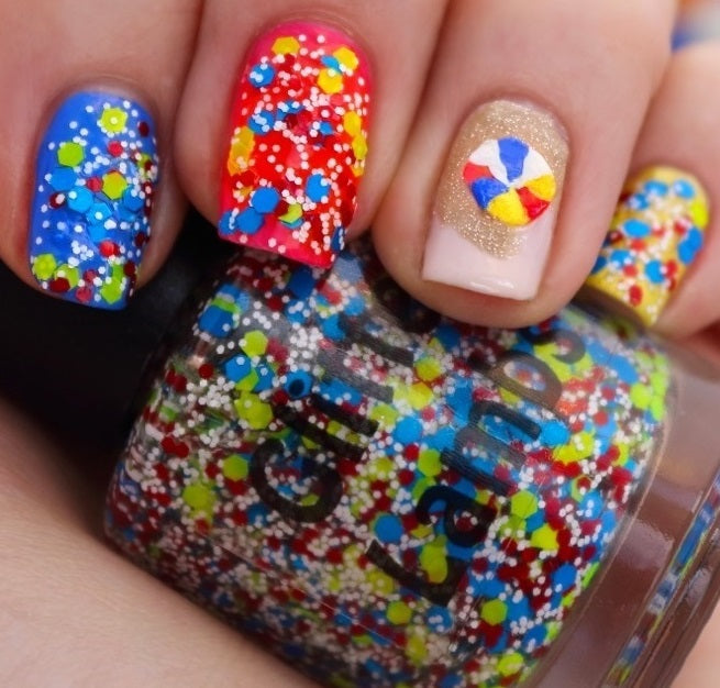 "Glitter Lambs ""Beach Ball"" Glitter Topper Nail Polish worn by @lacqueredlori"