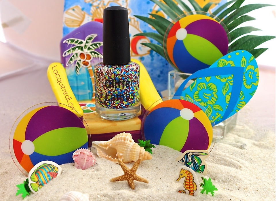 "Glitter Lambs ""Beach Ball"" Glitter Topper Nail Polish. Pic by @lacqueredlori"