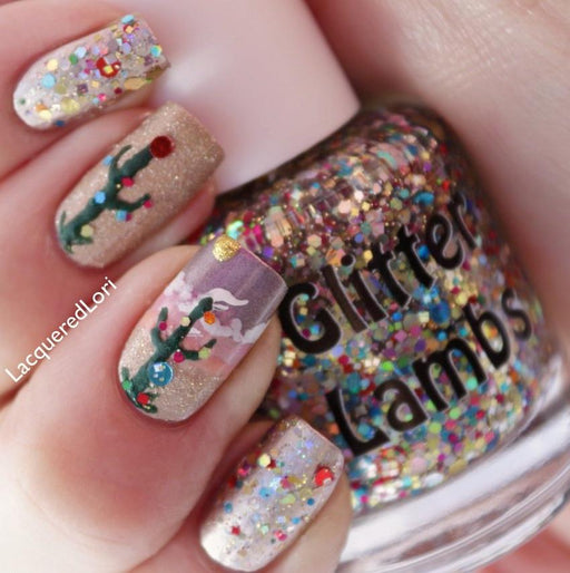 "Glitter Lambs ""Christmas In The Desert"" Glitter Topper Nail Polish GlitterLambs.com #polish #nailpolish #glitternails #nails #nailart #glitternailpolish"