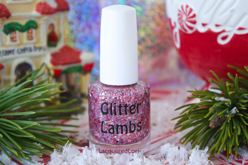 "Glitter Lambs ""Christmas Jelly Roll"" Glitter Topper Nail Polish by GlitterLambs.com #nailpolish #nails #christmasnails #christmasnailpolish #glitternailpolish #glitternails #nails"