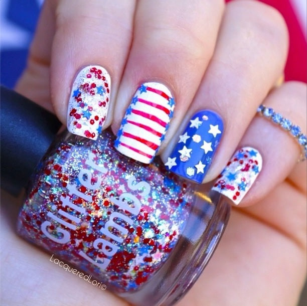 "Glitter Lambs ""Fourth Of July"" Glitter Topper Nail Polish worn by @lacqueredlori GlitterLambs.com #fourthofjuly #nails #nailpolish #glitterlambs"
