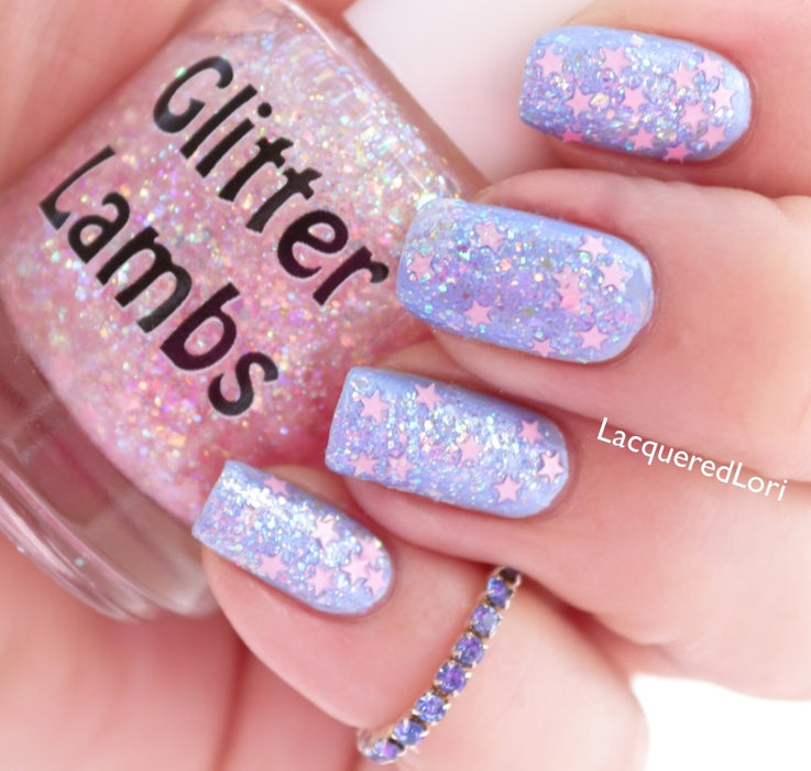 It's Snowing Cotton Candy Christmas Glitter Topper Nail Polish Glitter Lambs