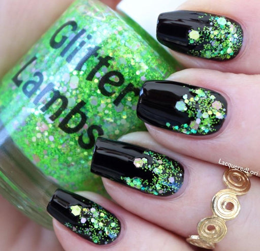 "Glitter Lambs ""Lime Green Eyeshadow"" glitter topper nail polish worn by @lacqueredlori #nails #glitternails #nailpolish #glitterlambs #glitterpolish #glitternailpolish"
