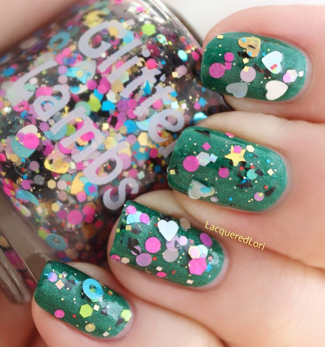 "Glitter Lambs ""Pinata Candy"" glitter topper nail polish worn by @lacquerdlori #nails #nailpolish #glitternails #nailart #naildesigns #glitterlambs #glitternailpolish #glitterpolish"