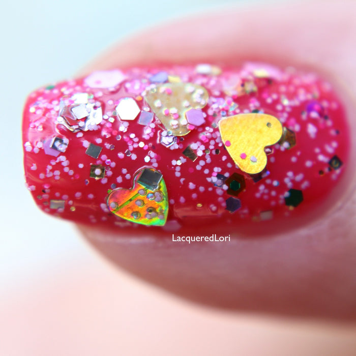 "Glitter Lambs ""Pink Gingerbread House"" glitter topper nail polish #nails #nailpolish #glitternails #glitternailpolish #nailart #naildesigns #glitterlambs"