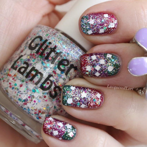 "Glitter Lambs ""Unicorns Love Sugar Cubes"" Glitter Topper Nail Polish worn by @lacqueredlori #nails #glitternails #unicornnailpolish #glitternailpolish #nailpolish #glittertopper #glitterlambs #unicornpolish"