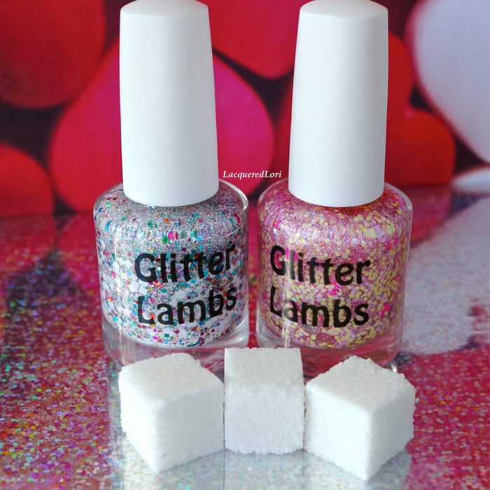 "Glitter Lambs ""Unicorns Love Sugar Cubes"" Glitter Topper Nail Polish (polish on left in pic) Pic taken by @lacqueredlori #nails #glitternails #unicornnailpolish #glitternailpolish #nailpolish #glittertopper #glitterlambs #unicornpolish"