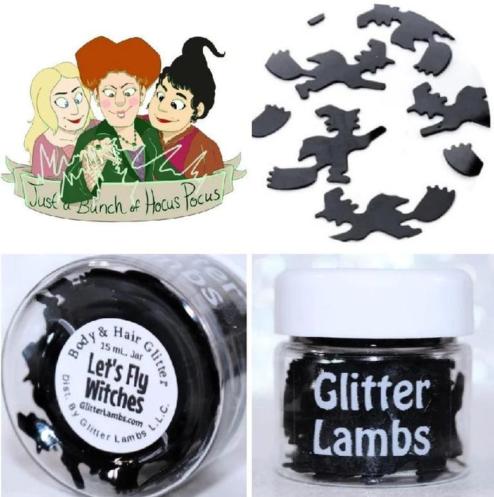 "Glitter Lambs ""Let's Fly Witches"" Halloween Body Glitter by GlitterLambs.comLet's Fly Witches Halloween Glitter 