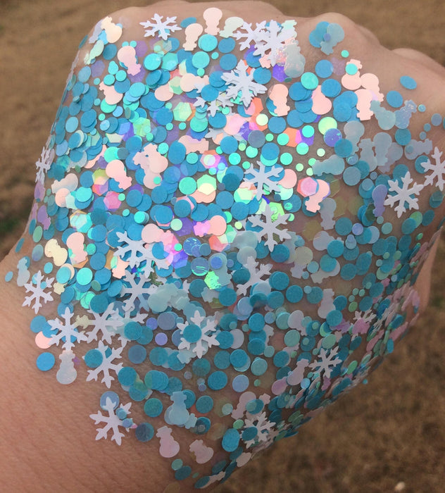 "Glitter Lambs ""Melted Snowman"" Christmas Body & Hair Glitter on GlitterLambs.com #glitter #bodyglitter #christmasglitter #snowman #christmas #snowflake #glitterlambs"