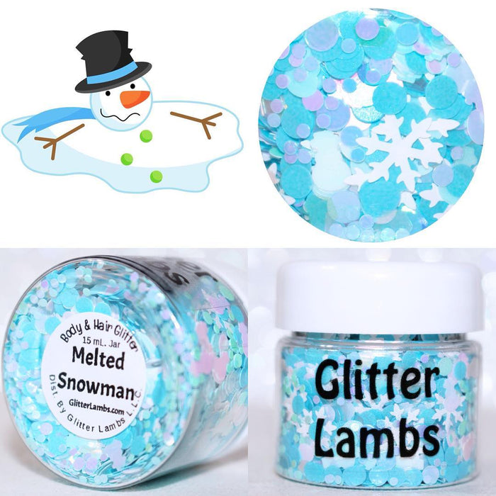 "Glitter Lambs ""Melted Snowman"" Christmas Body & Hair Glitter on GlitterLambs.com Clipart by @jessicaweibleillustrations #glitter #snowman #christmas #meltedsnowman #glitterlambs #snowmanglitter #nails #nailglitter"