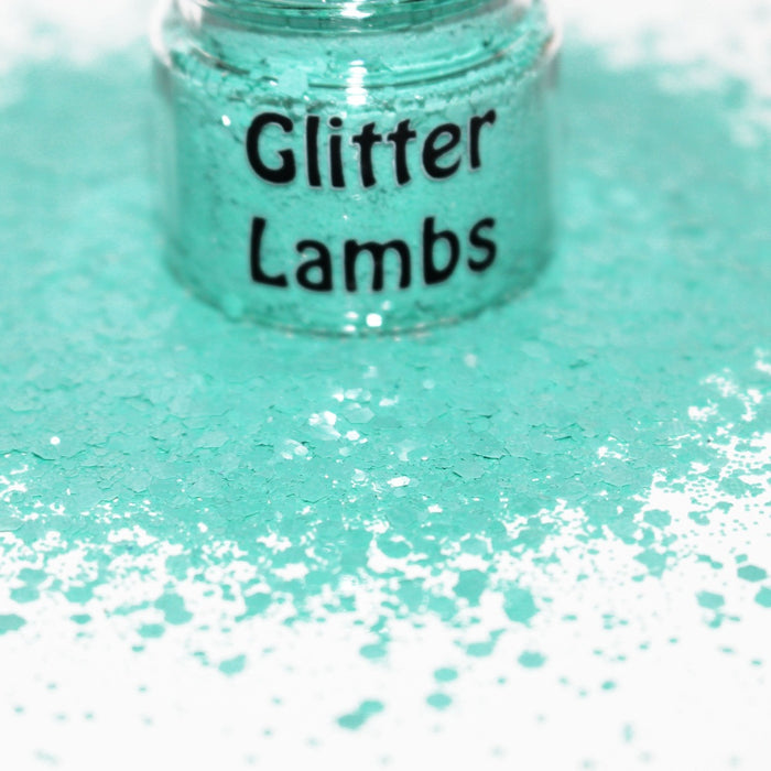 Mermaid Mansions glitter. A aqua green glitter mix. Great for crafts, nails, resin, body, hair, tumbler cups, acrylic pouring, diy projects, etc. by GlitterLambs.com