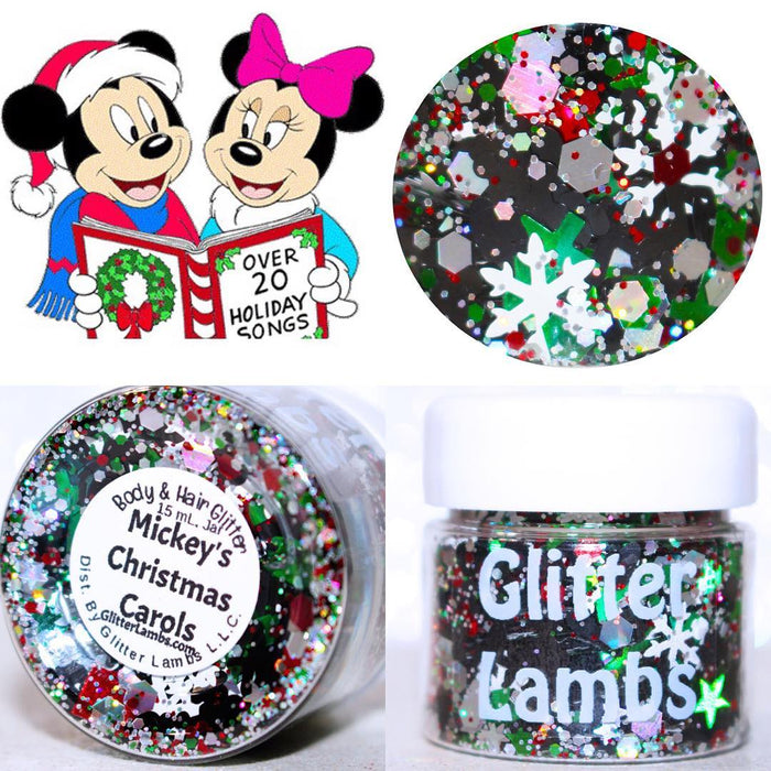 Mickey's Christmas Carols Body & Hair Glitter by GlitterLambs.com #christmas #mickeymouse #christmasglitter #glitter #bodyglitter #glitterlambs #christmasgifts #giftideas