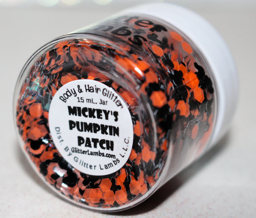 Mickey's Pumpkin Patch Halloween Body And Hair Glitter by GlitterLambs.com #halloweenglitter #glitter #mickeyglitter #fallglitter