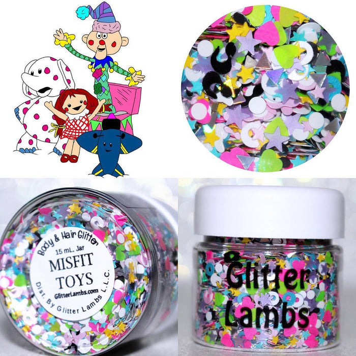 "Glitter Lambs ""Misfit Toys"" Christmas Body Glitter by GlitterLambs.com Clipart by @wolf2567 #glitter #christmas #misfittoys #islandofmisfittoys #rudolph #christmasglitter #glitterlambs"