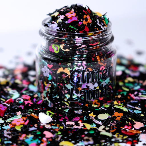 My Unicorn Plays The Ouija Board Glitter. This black and colorful glitter mix is great for crafts, nails, resin, acrylic pouring, tumbler cups, diy projects body, hair, etc. by GlitterLambs.com