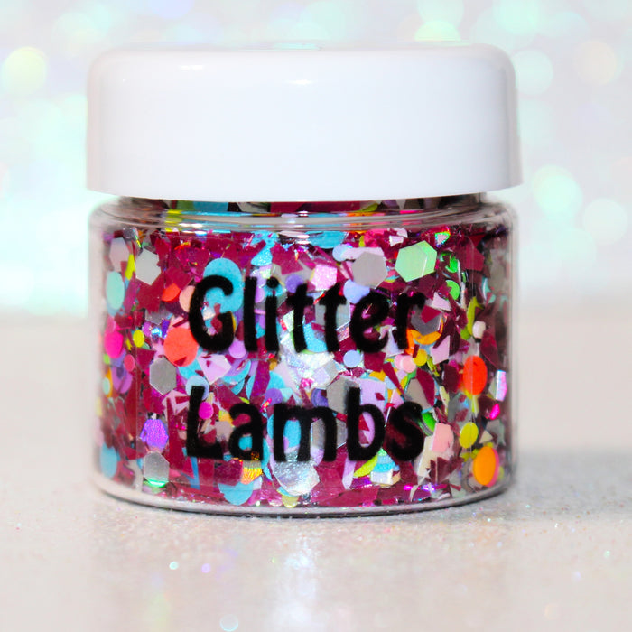 "Glitter Lambs ""My Unicorn Bought A Doll House"" Body Glitter by GlitterLambs.com #glitter #bodyglitter #unicornglitter #unicornmakeup #glitterlambs"