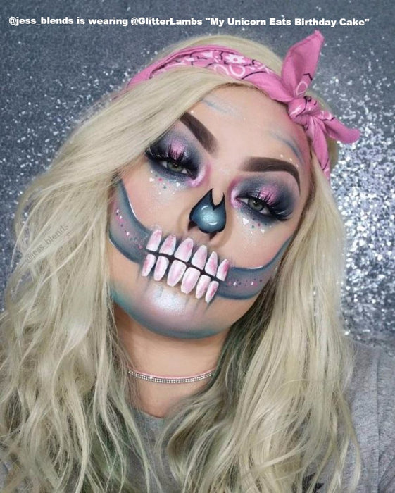"Glitter Lambs ""My Unicorn Eats Birthday Cake"" Body Glitter worn by @jess_blends in a cotton candy skull makeup halloween look"