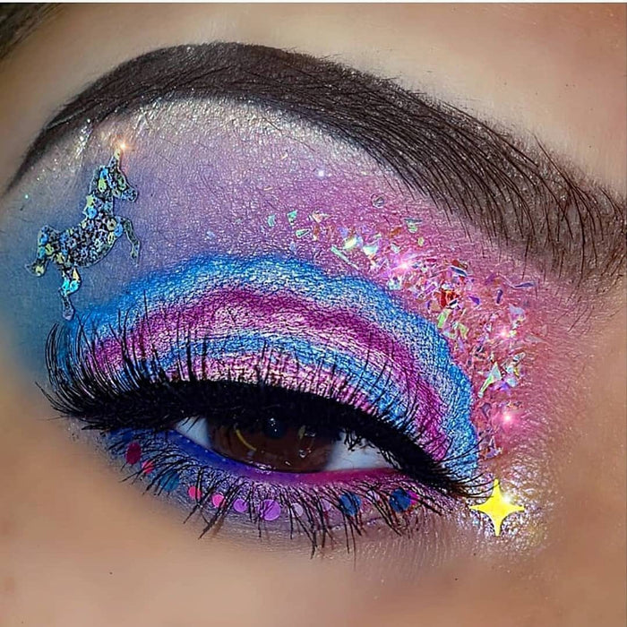 "Glitter Lambs ""My Unicorn Eats Birthday Cake"" Body Glitter worn by @shelovesssmakeup Shop GlitterLambs.com #makeup #beauty #cosmetics #glitter #bodyglitter #glitterlambs #unicornglitter #makeuplooks"