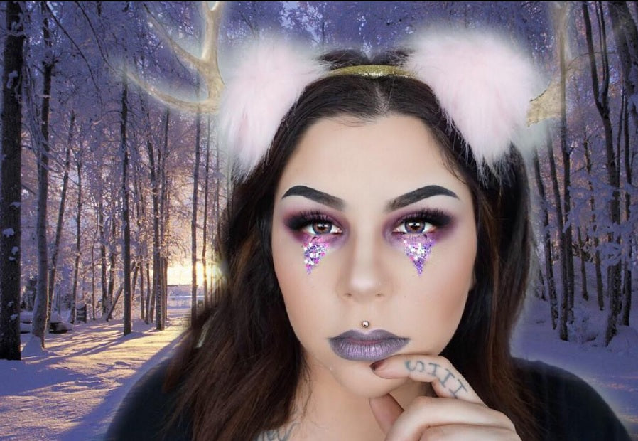 "@sierracone is wearing @glitterlambs ""My Unicorn Eats Birthday Cake"" chunky body glitter. Festival chunky body glitter pots!"