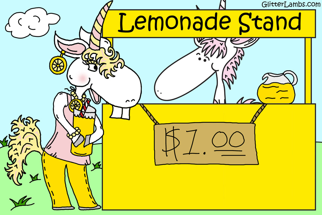 My Unicorn Has A Lemonade Stand Glitter. Great for crafts, resin, nails, etc by Glitter Lambs GlitterLambs.com