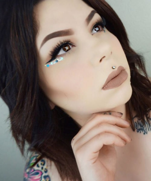 "@sierracone wearing @glitterlambs ""My Unicorn Is Friends With The Boogie Man"" chunky body glitter. Makeup Eye Look"
