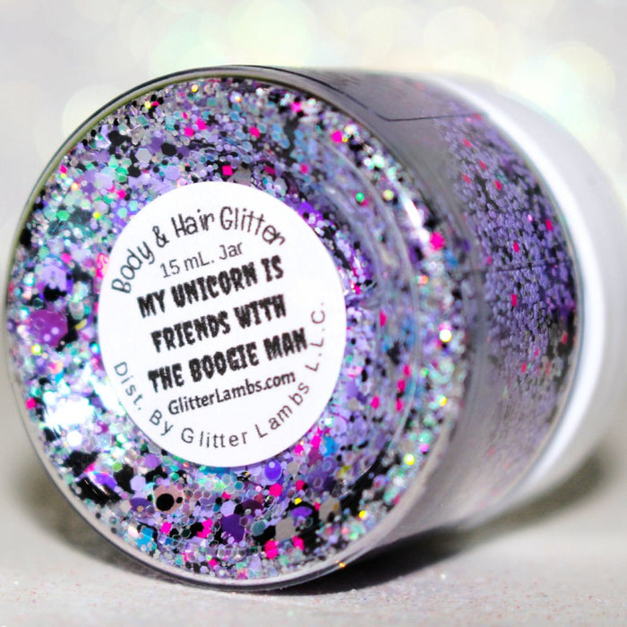 "Glitter Lambs ""My Unicorn Is Friends With The Boogie Man"" Body & Hair Glitter by GlitterLambs.com #bodyglitter #hairglitter #glitter #unicornglitter #halloweenglitter #halloween #unicorn #glitterlambs"