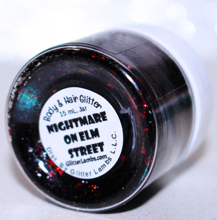 Nightmare On Elm Street Freddy Kruger Halloween Body Glitter by GlitterLambs.com Black and Red Shreds #glitter #halloween #halloweenglitter #nightmareonelmstreet #freddykruger
