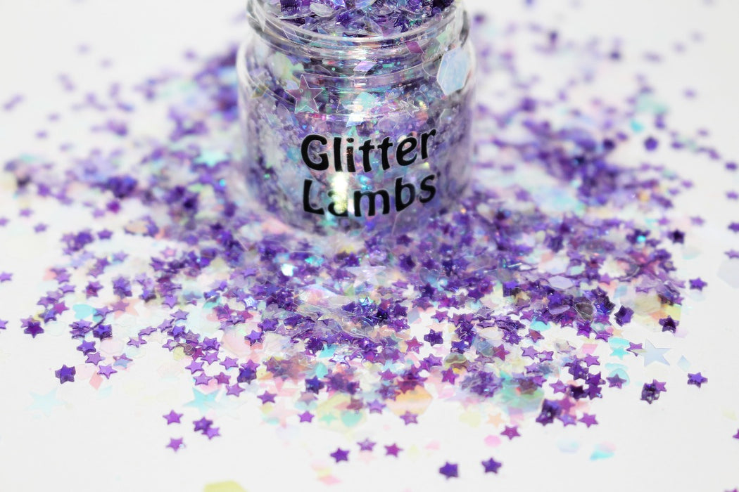Phantom glitter for crafts nails resin by Glitter Lambs iridescent and purple star glitter by GlitterLambs.com