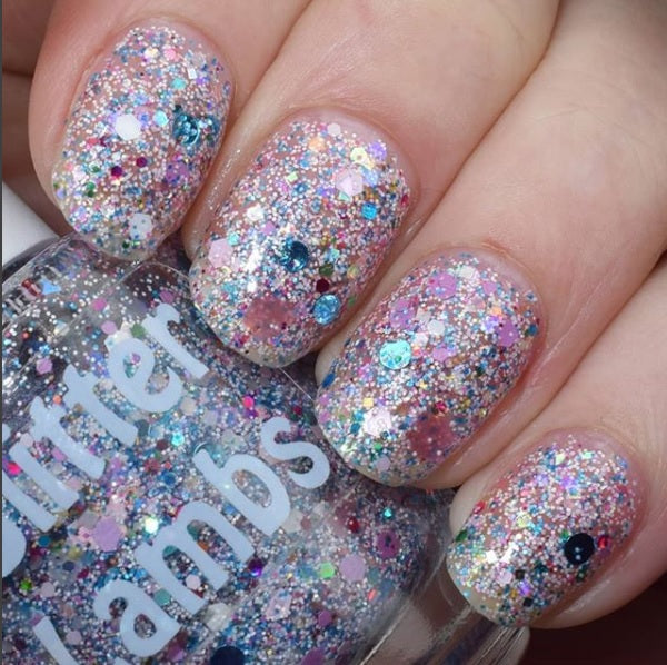 "Glitter Lambs ""Piggy Bubble Bath"" Glitter Topper Nail Polish #nails #glitternails #glitterlambs #nailpolish #glitternailpolish #naliart #naildesigns"