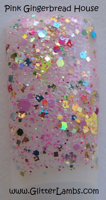 Pink Gingerbread House | Glitter Lambs Glitter Topper Nail Polish