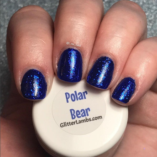 Glitter Lambs Polar Bear Nail Art Glitter Blue GlitterLambs.com @T_Rex_Nails