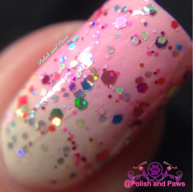 "Glitter Lambs ""Strawberry Shortcake"" glitter topper nail polish #nails #glitternails #glitterlambs"