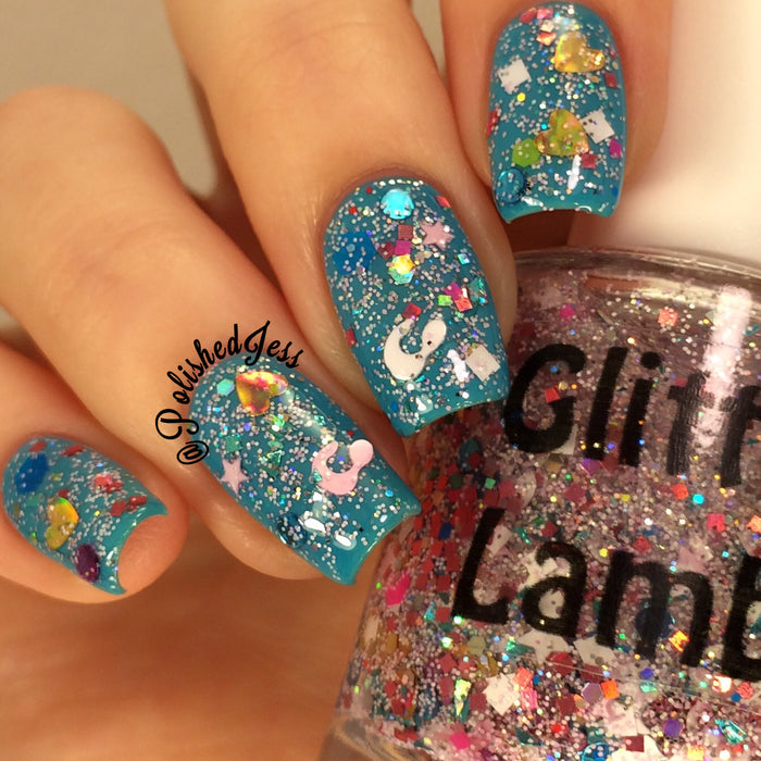 Cotton Candy Bubble Bath Glitter Lambs Glitter Topper Nail Polish GlitterLambs.com #nails #nailpolish #glitternails #glitternailpolish #glitterlambs