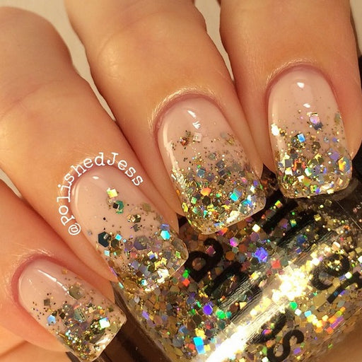 Million Dollar Gradient Glitter Topper Nail Polish Glitter Lambs Gold Holographic Nail Polish