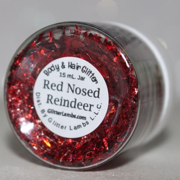 Red Nosed Reindeer Christmas Body Glitter Chunky Red Mylar Loose Body Glitter Face Hair GlitterLambs.com #glitter #bodyglitter #christmasbodyglitter