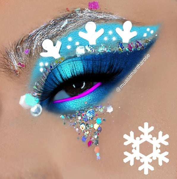 "@muasamantharose is wearing @glitterlambs ""Tooth Fairy Treats"" and ""Reindeer Games"" mixed together for this snowflake Christmas eye  makeup look"