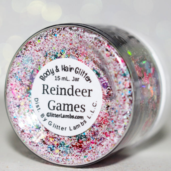 "Glitter Lambs ""Reindeer Games"" Chunky Body Glitter, Face or Hair Glitter Mix Christmas Reindeer Games Glitter Mix Festival Glitter GlitterLambs.com"