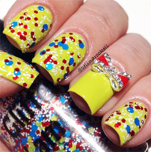 "Glitter Lambs ""Beach Ball"" Glitter Topper Nail Polish worn by @selinarockell"