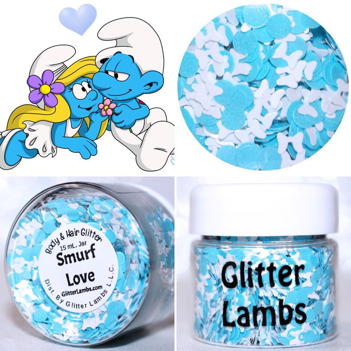 "Glitter Lambs ""Smurf Love"" body glitter by GlitterLambs.com Cartoon by @Shini-Smurf #glitter #bodyglitter"