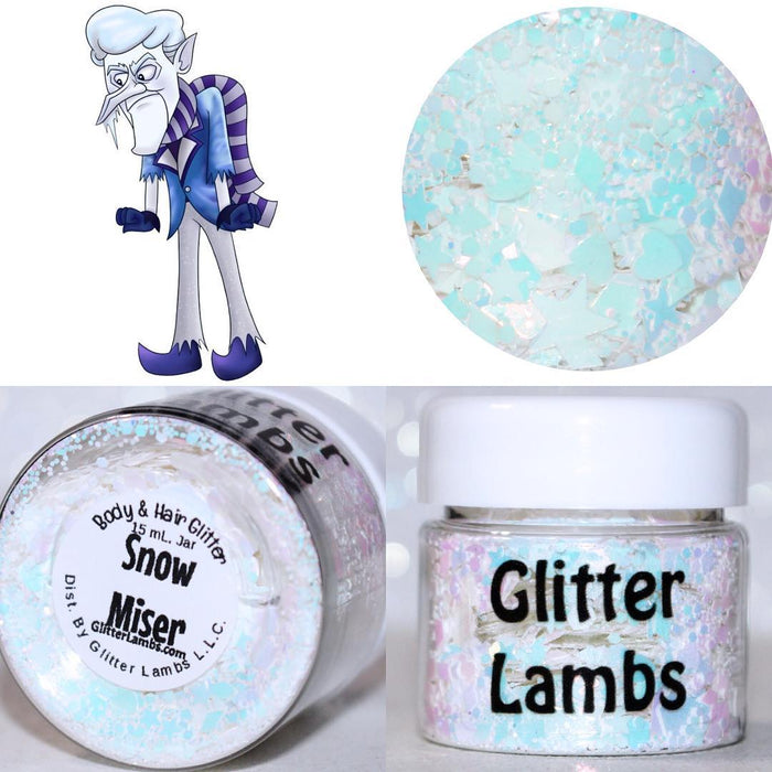 "Glitter Lambs ""Snow Miser"" Christmas Body Glitter by GlitterLambs.com 