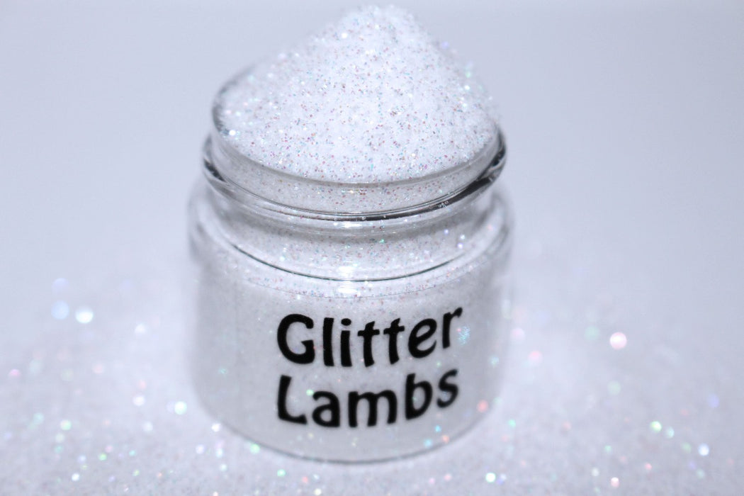 Snowflake Lake glitter. This iridescent white glitter is great for crafts, nails, resin, body, hair, tumbler cups, acrylic pouring, diy projects, etc.  by GlitterLambs.com