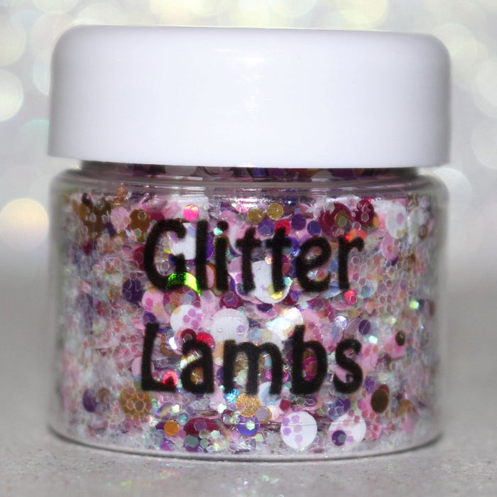 "Glitter Lambs ""Strawberry Milk Playhouse"" Glitter Pot For Body, Face, Skin, Hair, Nails #glitter #bodyglitter #faceglitter #hairglitter #pinkglitter #glitterlambs #nailglitter #nails"