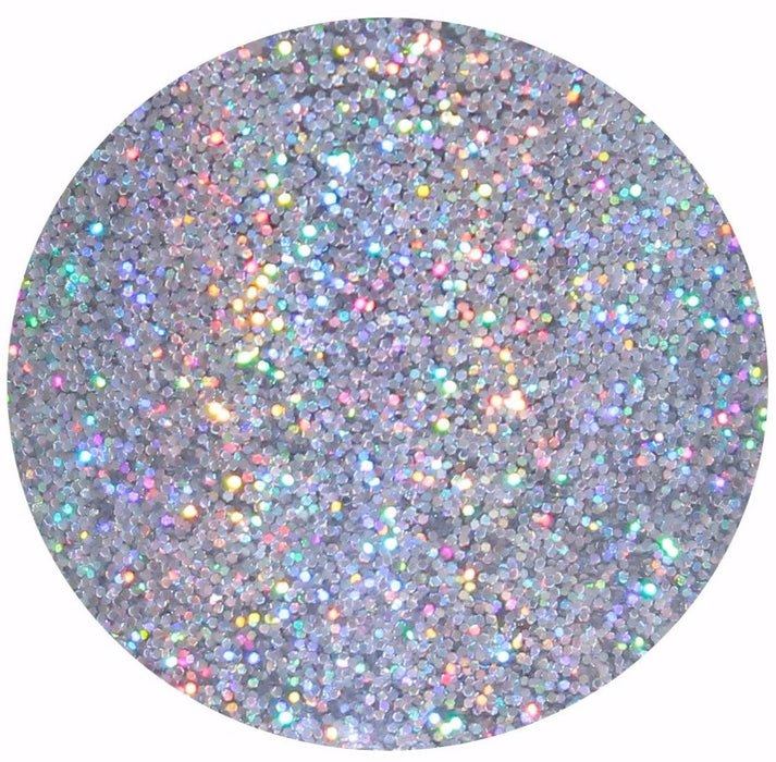 SuperStar glitter. A .008 silver holographic glitter that is great for crafts, nails, resin, body, etc.  by GlitterLambs.com