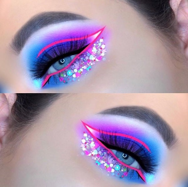 "Glitter Lambs ""Sweet Tooth"" Body Glitter worn by @shanmacmua #makeup #beauty #cosmetics #eyes #glitter #bodyglitter #festival #glittermix #glitterlambs"