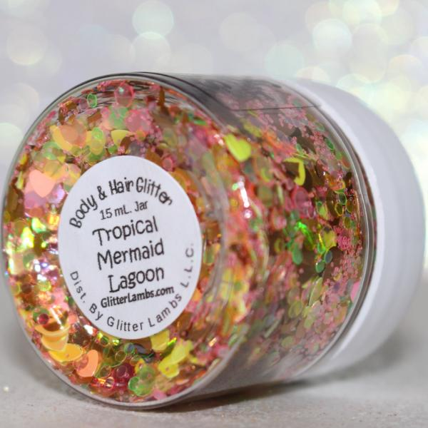Tropical Mermaid Lagoon Body Glitter Glitter Lambs Hair Face Body Mermaid Glitter