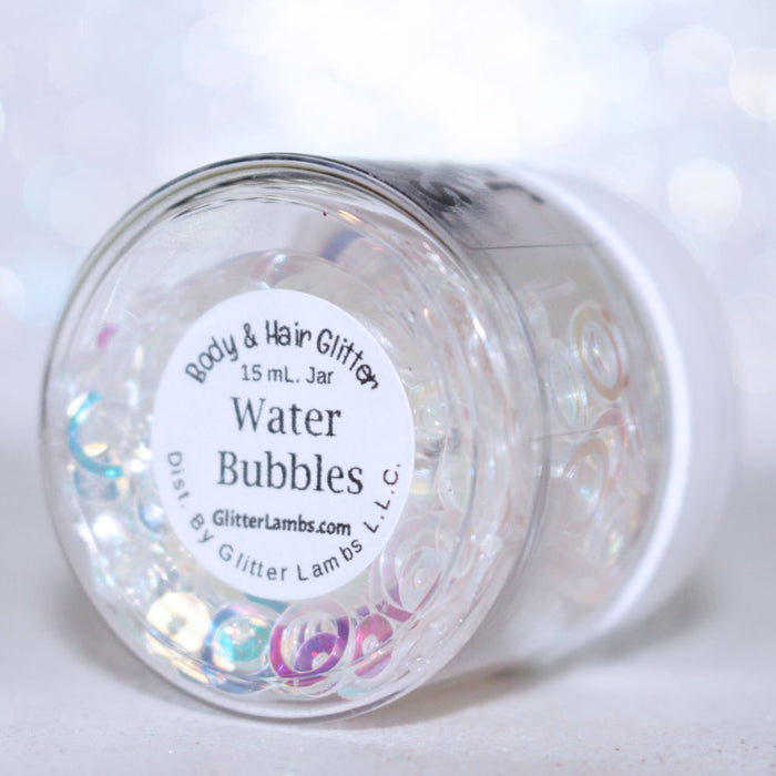 "Glitter Lambs ""Water Bubbles"" Face, Body & Hair Glitter Pot GlitterLambs.com Iridescent Circles White With Blue and Pink Flashes"