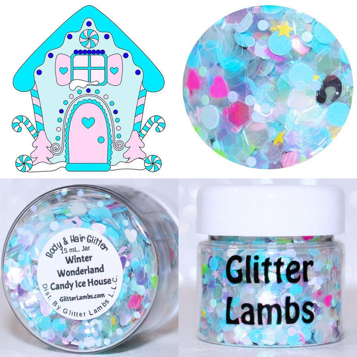 "Glitter Lambs ""Winter Wonderland Candy Ice House"" Christmas Body Glitter at GlitterLambs.com #glitter #christmasglitter #christmas #glitterlambs #bodyglitter"