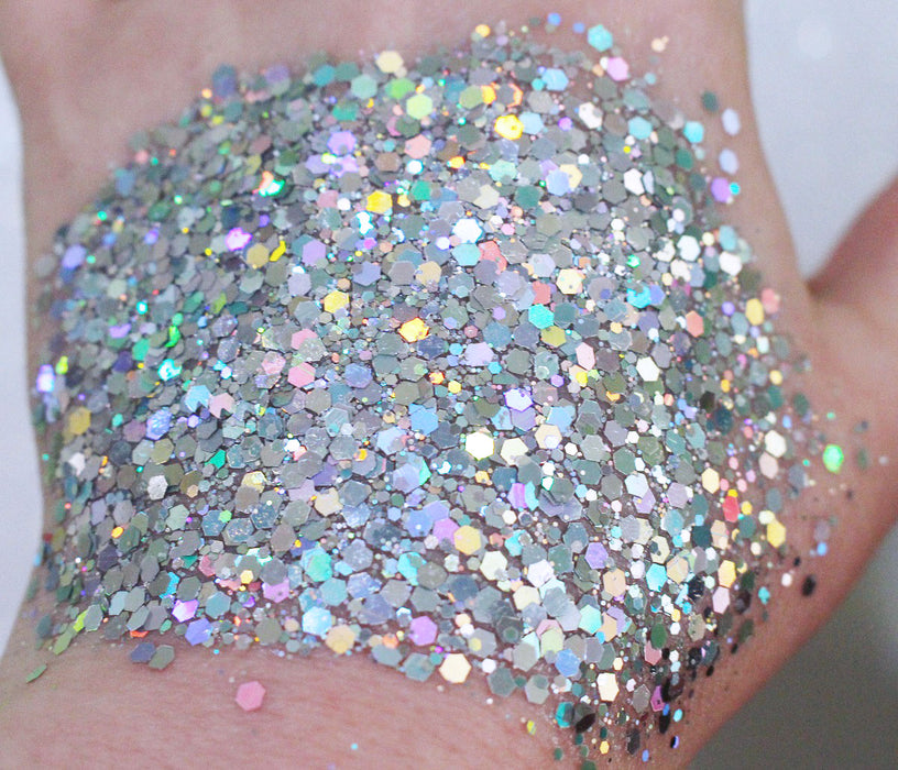 "Glitter Lambs ""Wish Upon A Mermaid"" Chunky Body Glitter Silver Holographic GlitterLambs.com Makeup Glitter. Face Glitter. Body Glitter."